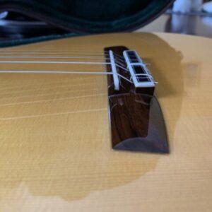 ダブルホール構造のクラシックギターを横から見る