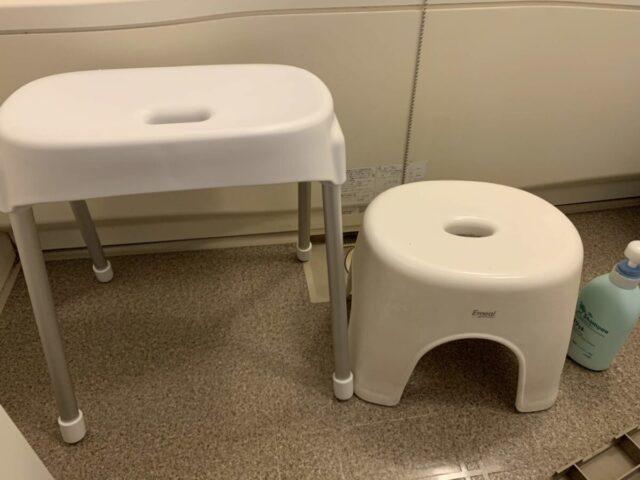 高めのふろの椅子と低めのふろの椅子の比較