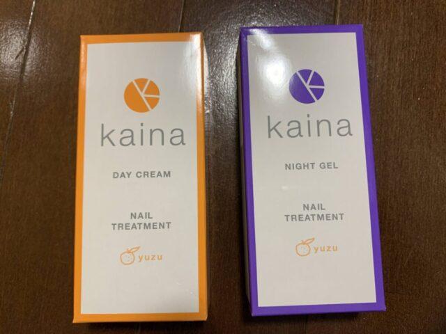 kaina ネイルクリーム デイケアとナイトジェルのパッケージ